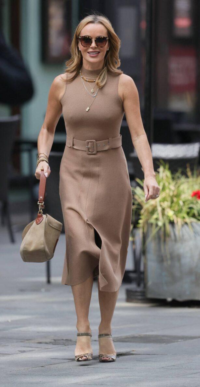 Amanda Holden - Wears tight skin coloured dress at Heart radio in London
