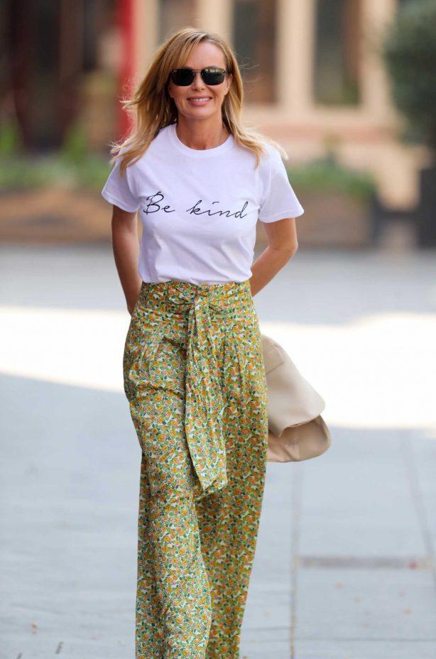 Amanda Holden - Wears Zara trousers and SilkFred slogan T-shirt in London