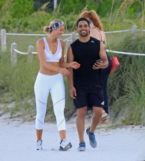 Amanda Pacheco and Wilmer Valderrama - Jogging on Miami Beach