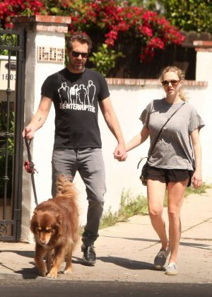 Amanda Seyfried and Thomas Sadoski walk their dog in Los Angeles