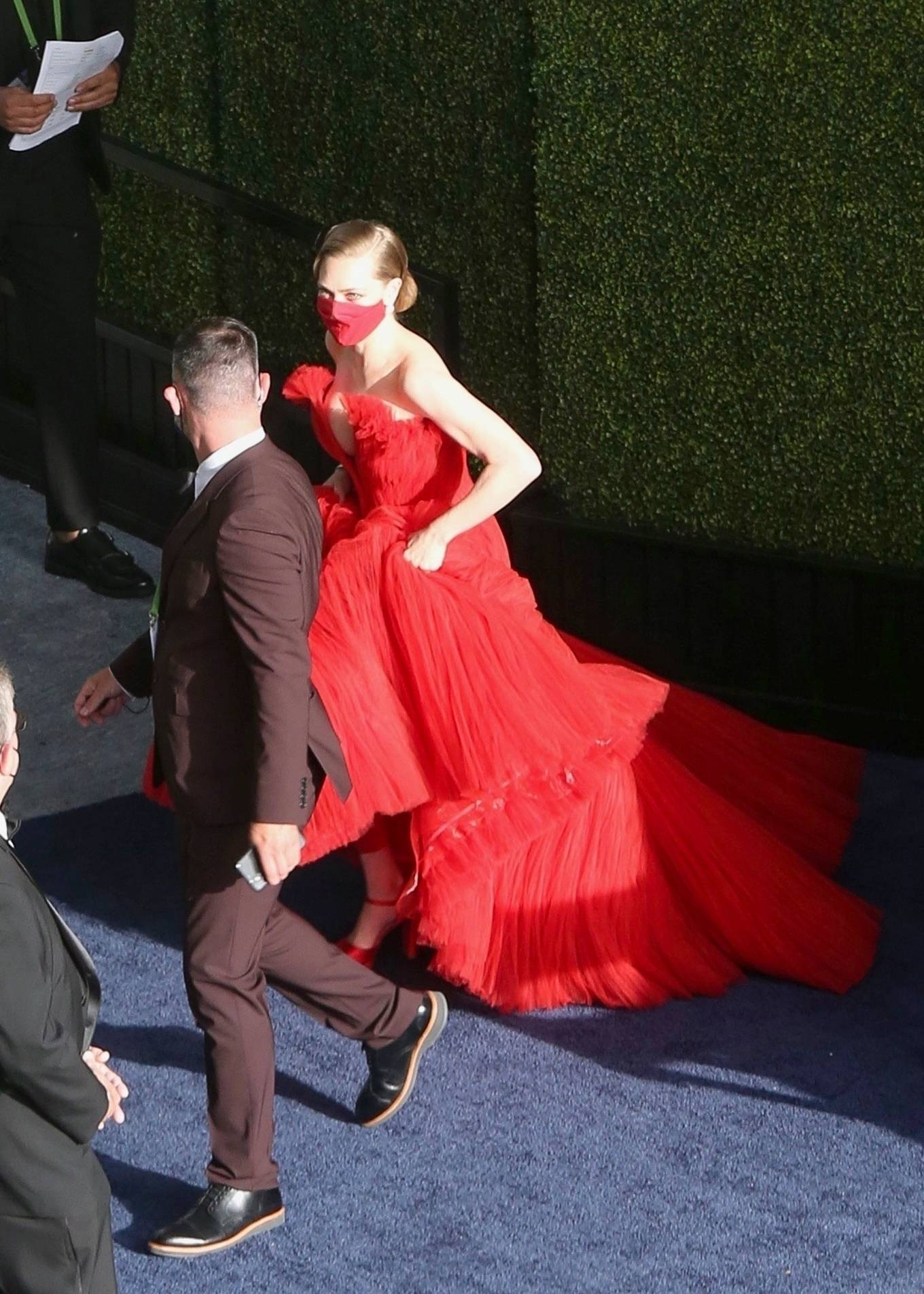 Amanda Seyfried 2021 : Amanda Seyfried – In a long red dress at 2021 Annual Academy Awards at Union Station in Los Angeles-01