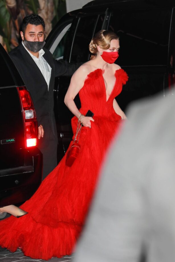 Amanda Seyfried - In a long red dress at 2021 Annual Academy Awards at Union Station in Los Angeles