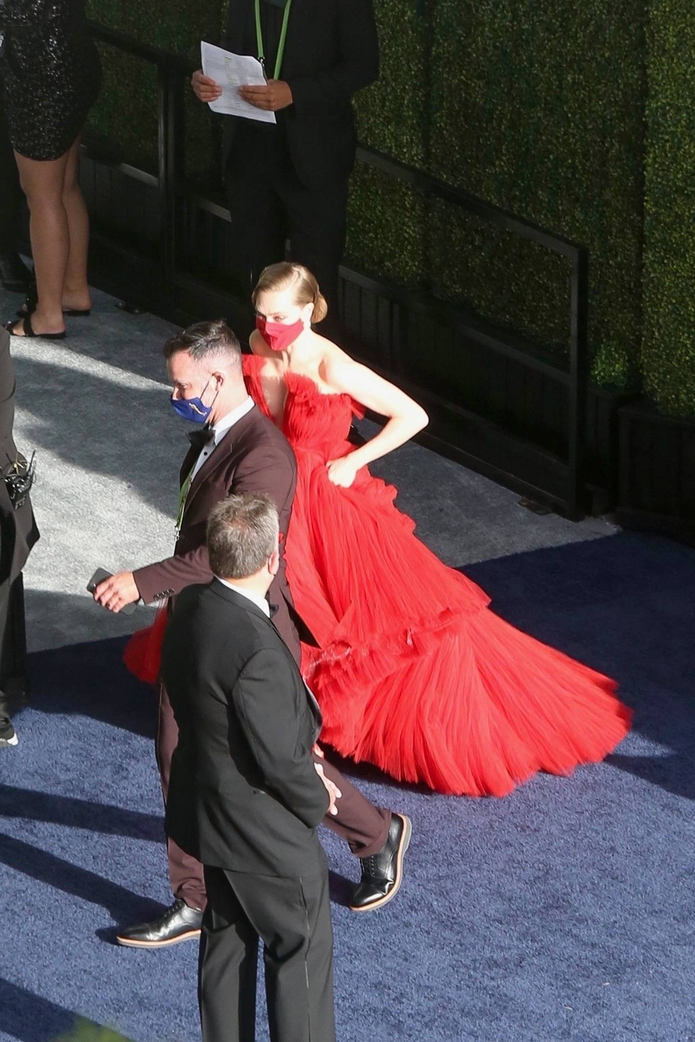 Amanda Seyfried 2021 : Amanda Seyfried – In a long red dress at 2021 Annual Academy Awards at Union Station in Los Angeles-08