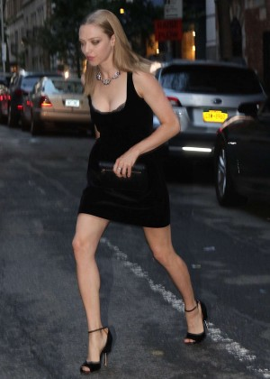 Amanda Seyfried in Black Mini Dress out in NY