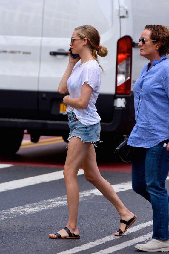 Amanda Seyfried in Denim Shorts - Out in Manhattan