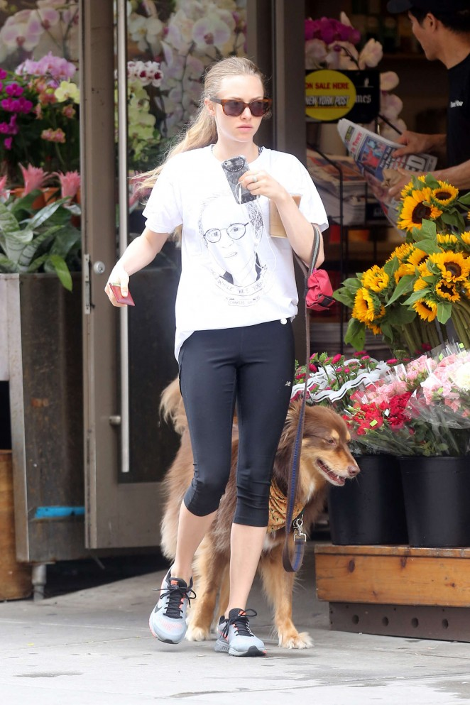 Amanda Seyfried in Leggings around the West Village in NY