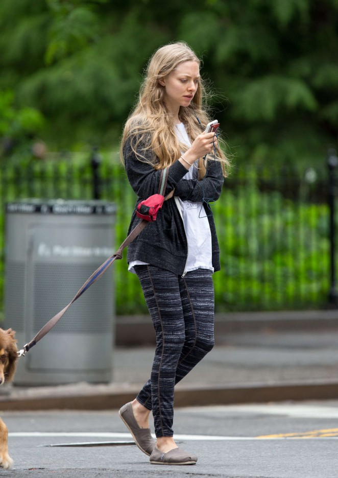 Amanda Seyfried in Leggings Walking her dog in NYC