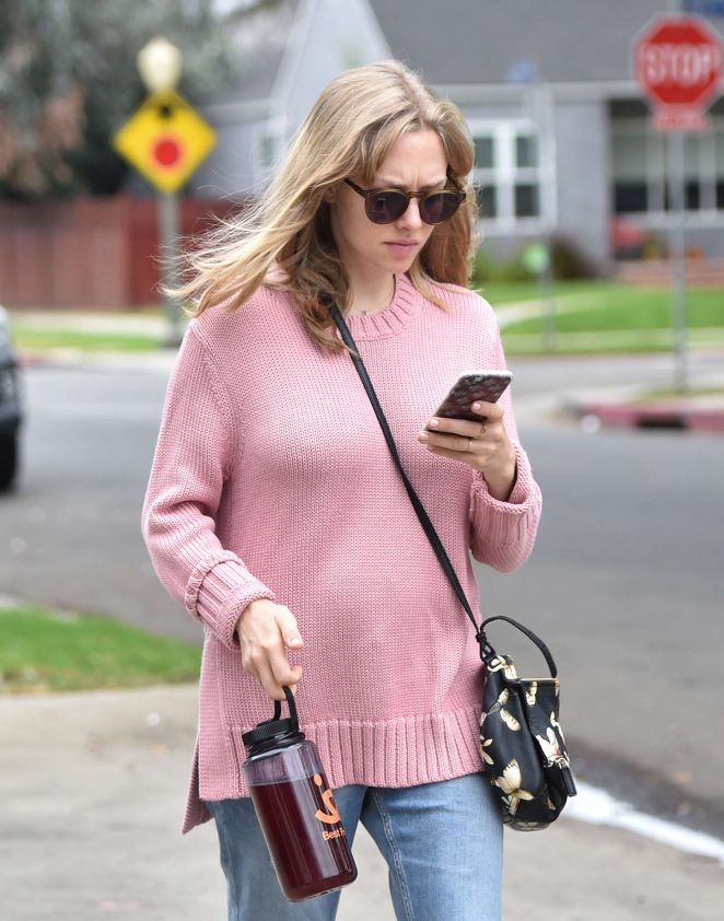 Amanda Seyfried in Pink Knitted Sweater out in LA