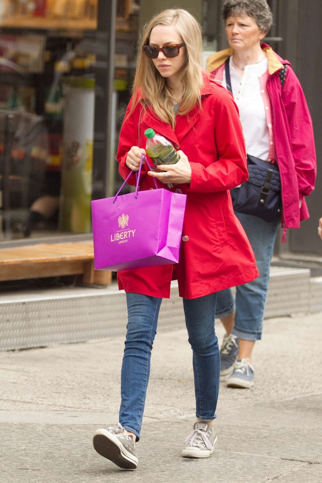 Amanda Seyfried in Red Jacket and Jeans Out in NYC