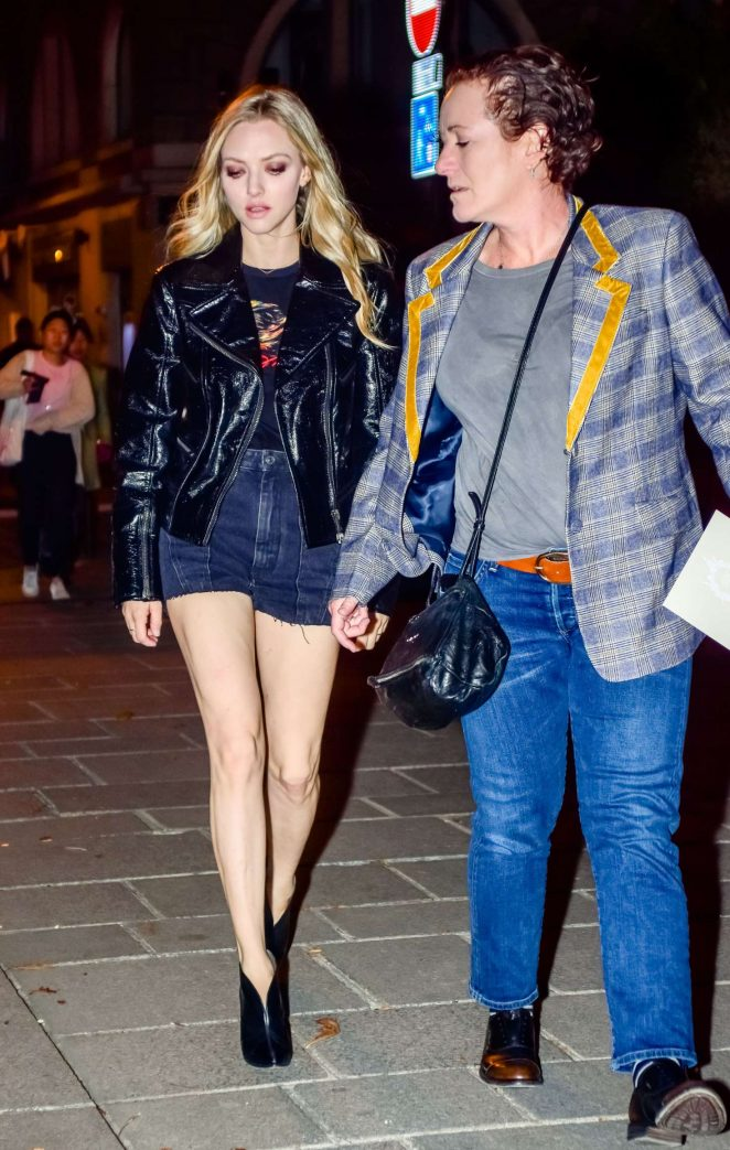 Amanda Seyfried in Shorts - Night out in Paris