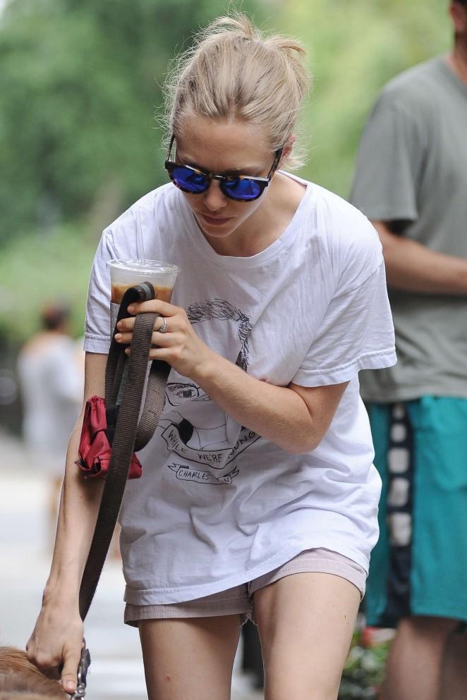 Amanda Seyfried in Shorts Walking her dog in NYC
