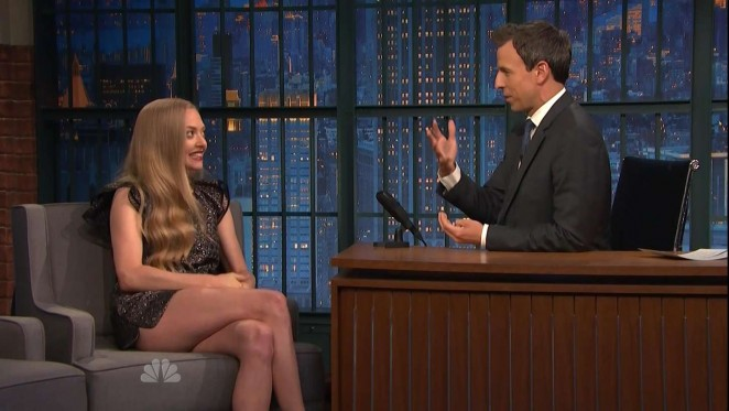 Amanda Seyfried Lewggy at Late Night with Seth Meyers -04