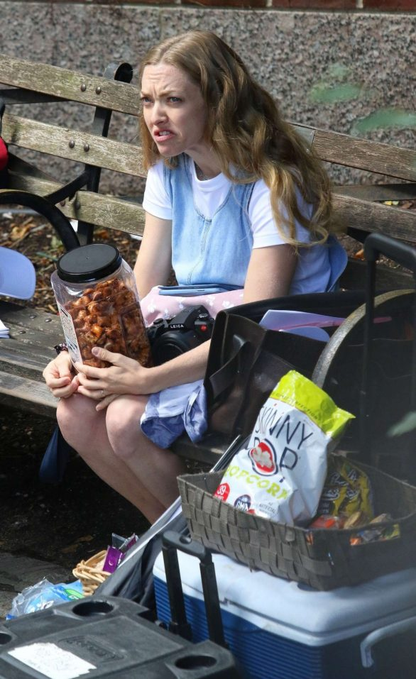 Amanda Seyfried - On set of the indie drama 'A Mouthful of Air' in New York