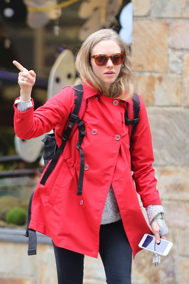 Amanda Seyfried in Red Jacket Out in NYC