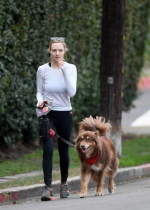 Amanda Seyfried - Takes her dog Finn for a hike in Los Angeles