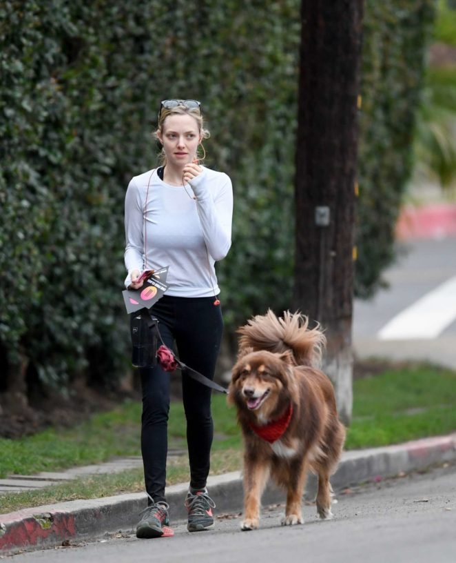 Amanda Seyfried – Takes her dog Finn for a hike in Los Angeles