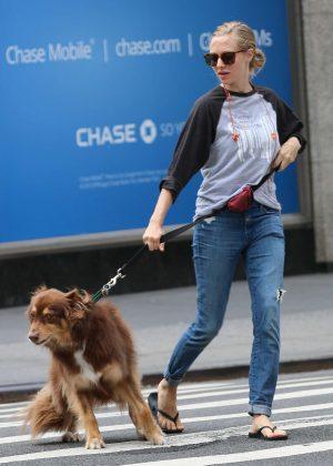 Amanda Seyfried - Walking her dog in New York
