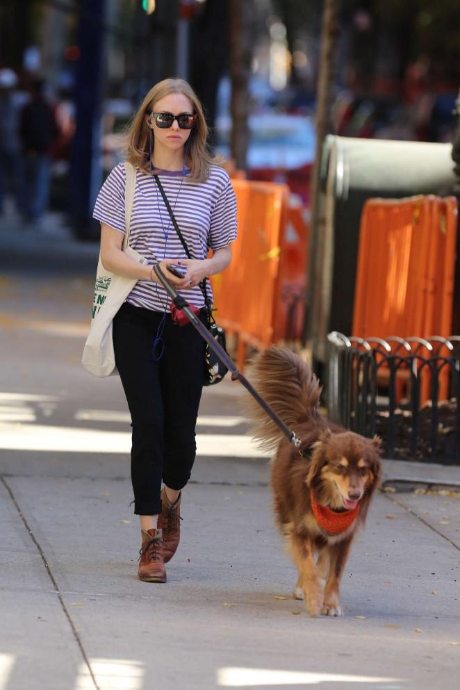 Amanda Seyfried – Walking her dog in West Village