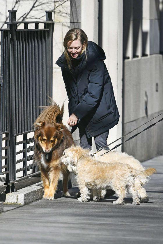 Amanda Seyfried: Walks her dog in New York -09