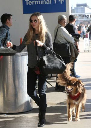 Amanda Seyfried with her dog at LAX Airport in LA