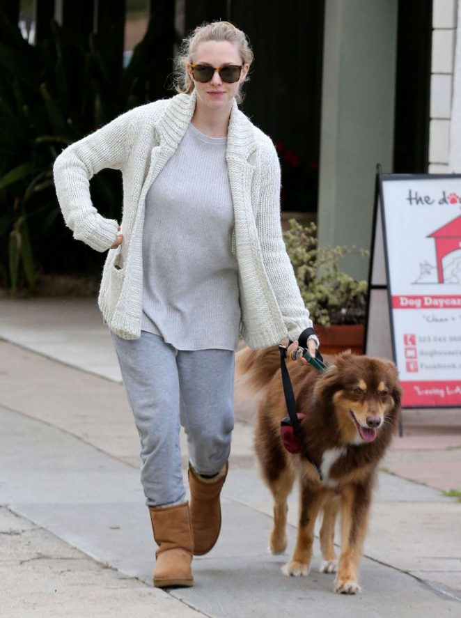 Amanda Seyfried with her dog Finn at The Dog House in LA