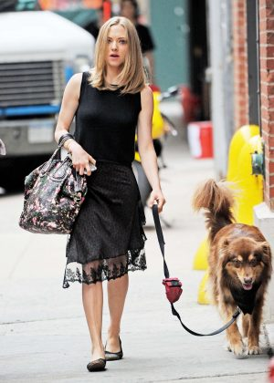 Amanda Seyfried with her dog in New York City