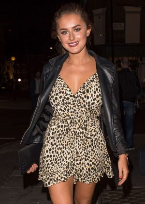 Amber Davies in Mini Dress Leaving a bar in Pimlico