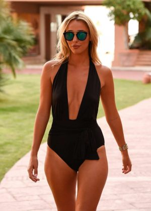 Amber Dowding in Swimsuit Leaves her hotel in Marbella