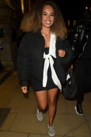 Amber Gill - Leaving Rosso Restaurant in Manchester
