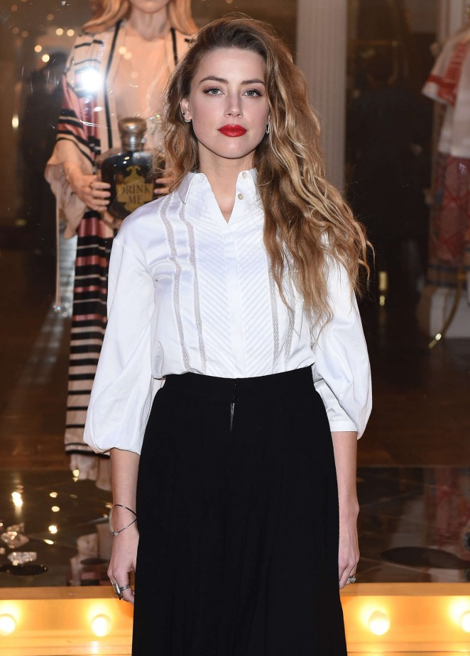 """Amber Heard - """"Alice In Wonderland"""" Themed Window Unveiling at the Temperley Shop in London"""