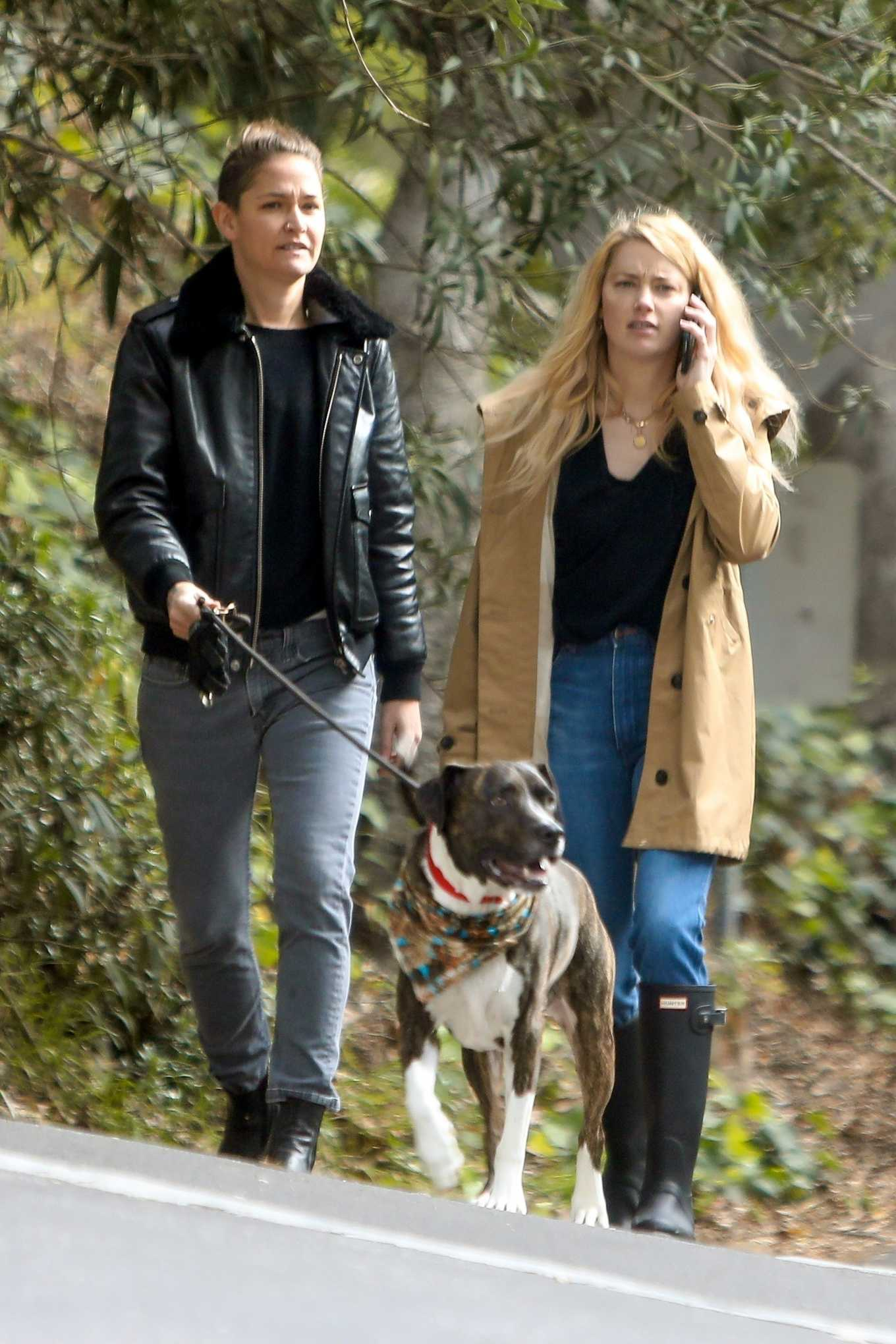 Amber Heard and Bianca Butti - Takes a break from isolation to walk in LA
