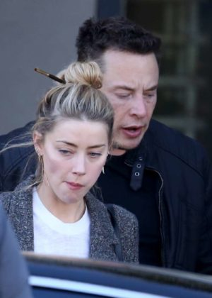 Amber Heard and Elon Musk - Leaving the restaurant HomeState in Los Feliz
