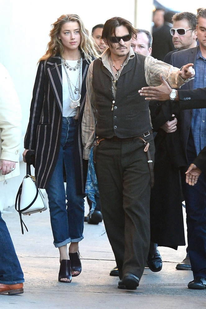 Amber Heard and Johnny Depp outside Jimmy Kimmel Live in Hollywood