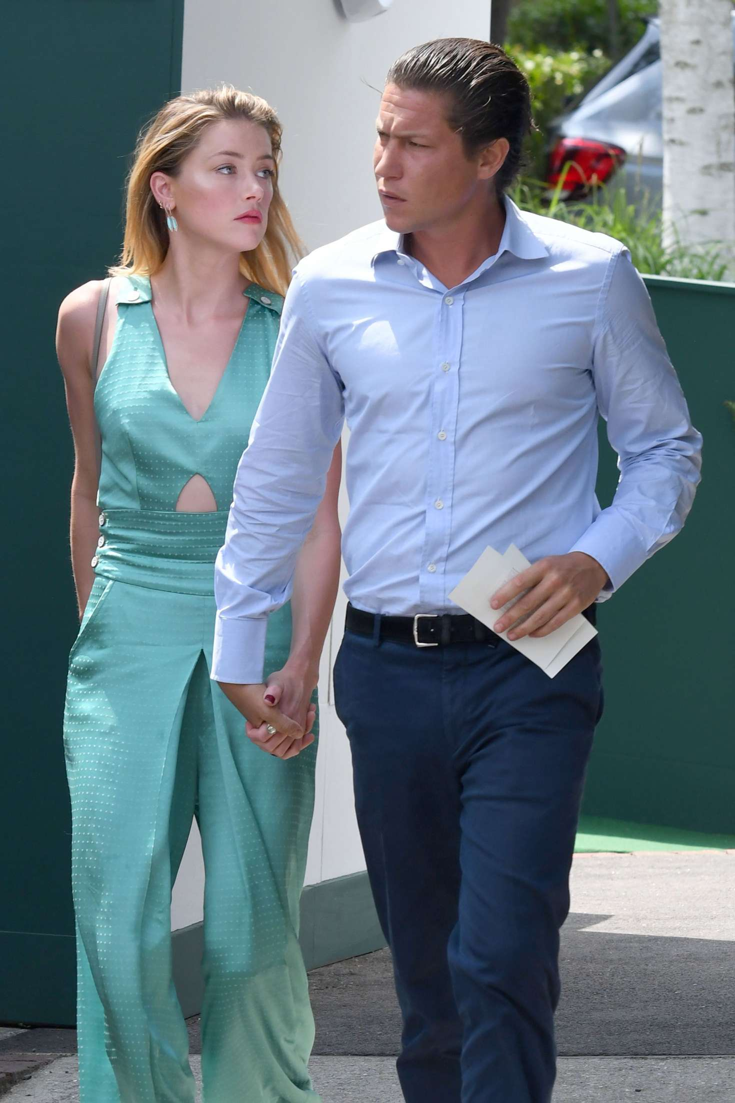 Amber Heard and Vito Schnabel - Arrives at Wimbledon in London