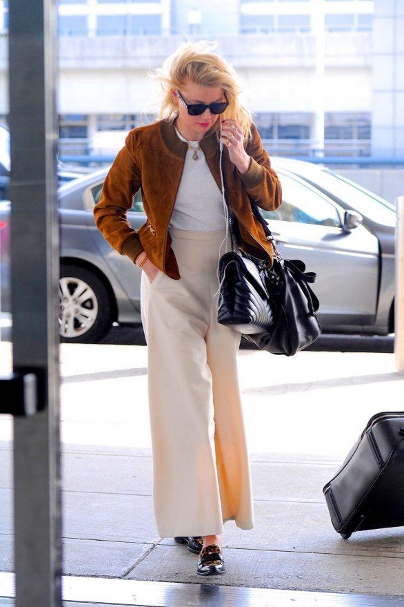 Amber Heard - Arriving at JFK Airport in New York
