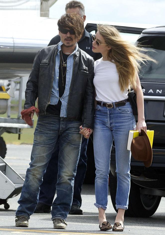 Amber Heard in Jeans Arriving in Brisbane