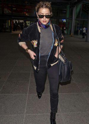 Amber Heard - Arriving in London