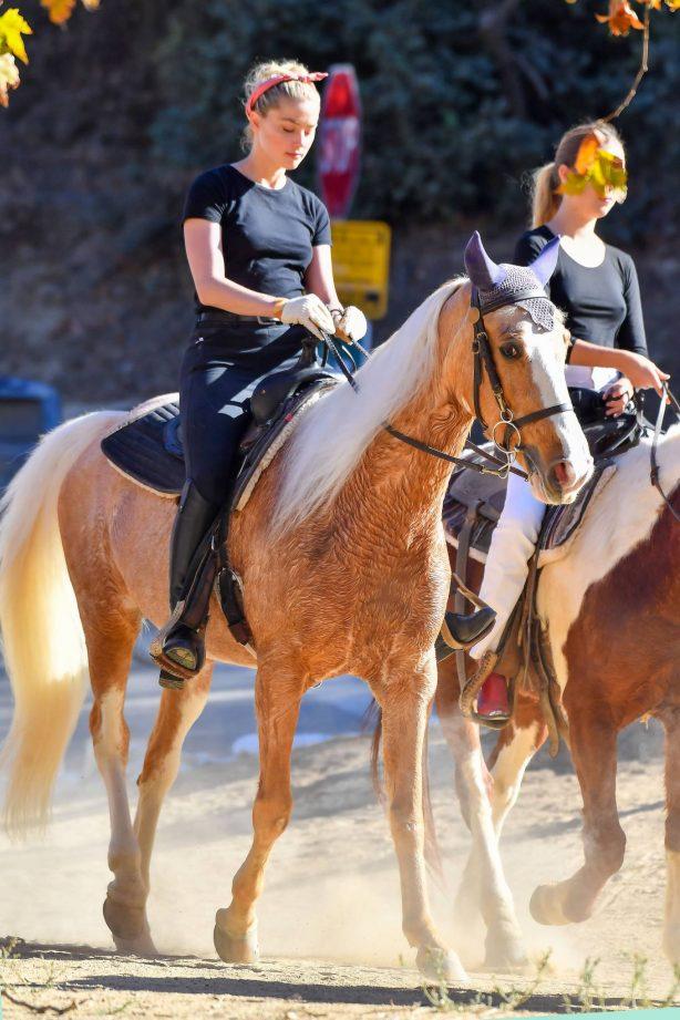 Amber Heard - Horseback riding candids in LA