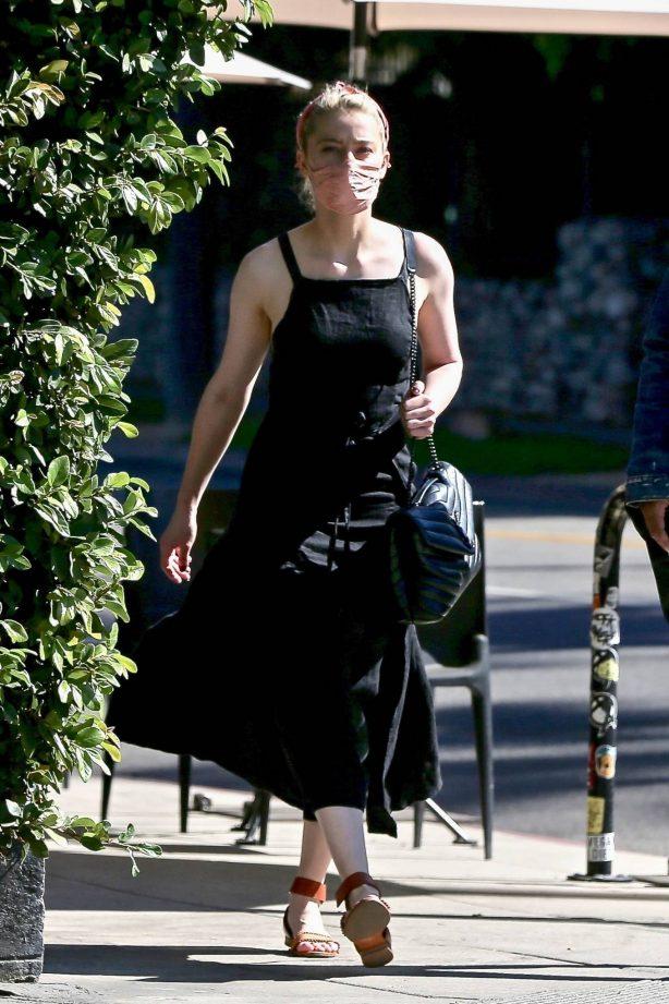 Amber Heard - In a black dress with a friend in Los Feliz