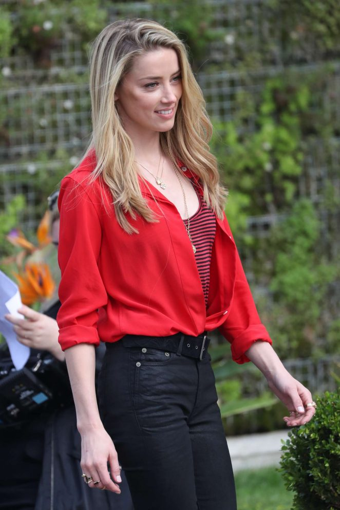 Amber Heard in Black Pants on Photoshoot in Cannes