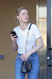Amber Heard in Jeans and White Shirt - Out in Los Angeles