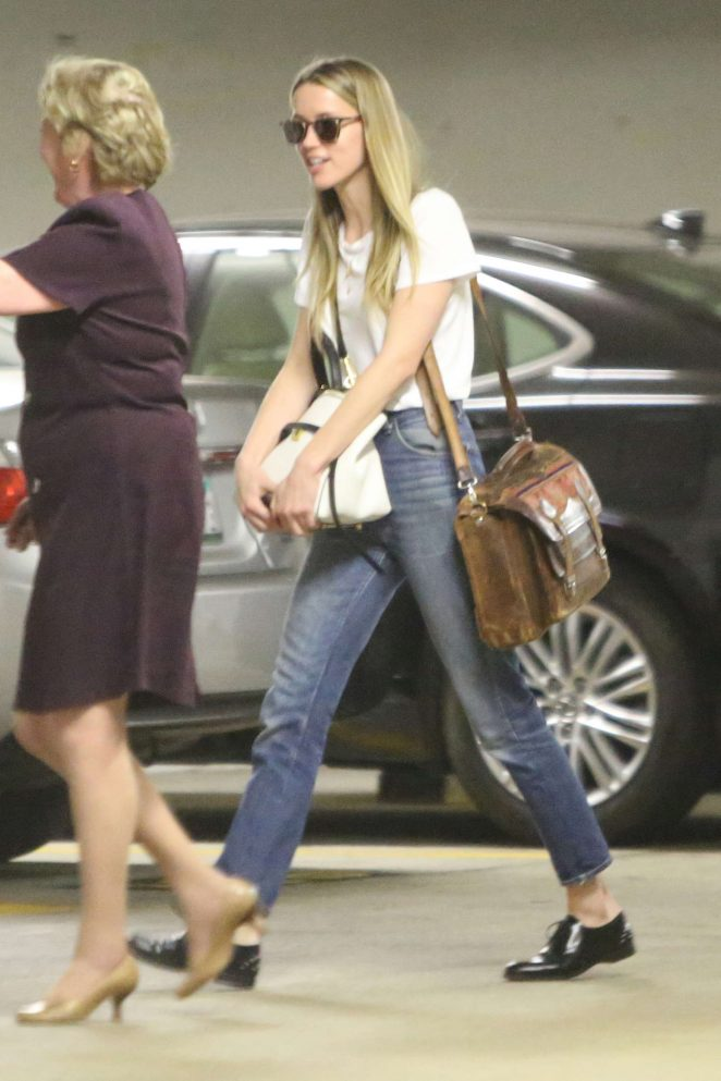 Amber Heard in jeans arriving at an office building in Los Angeles