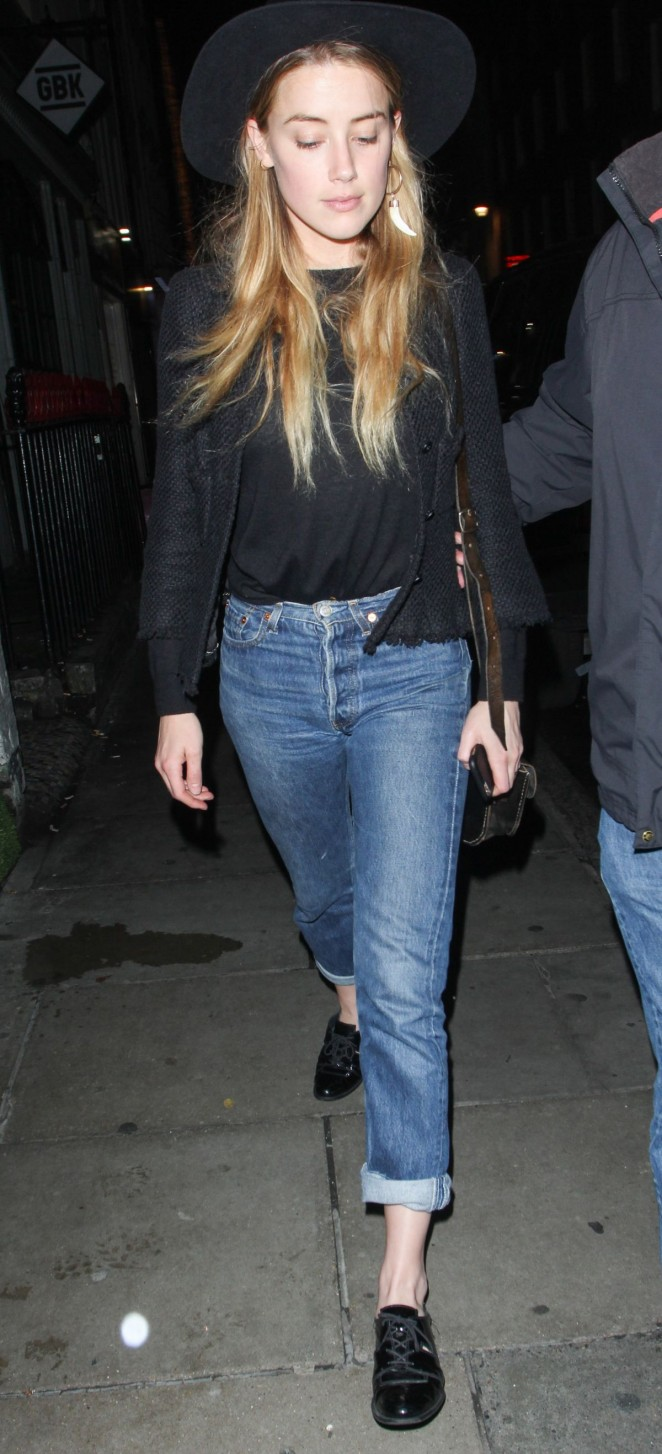 Amber Heard in Jeans Night Out in London
