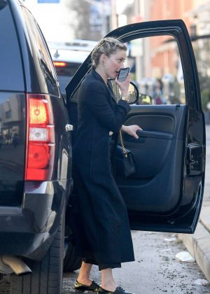 Amber Heard in Long Black Coat - Out in Los Angeles