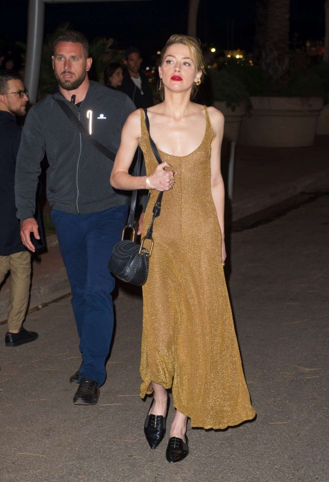 Amber Heard in Long Dress out in Cannes