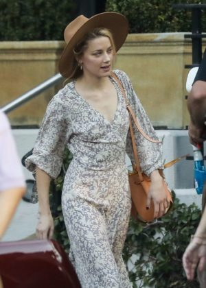 Amber Heard in Long Dress - Out in Hollywood