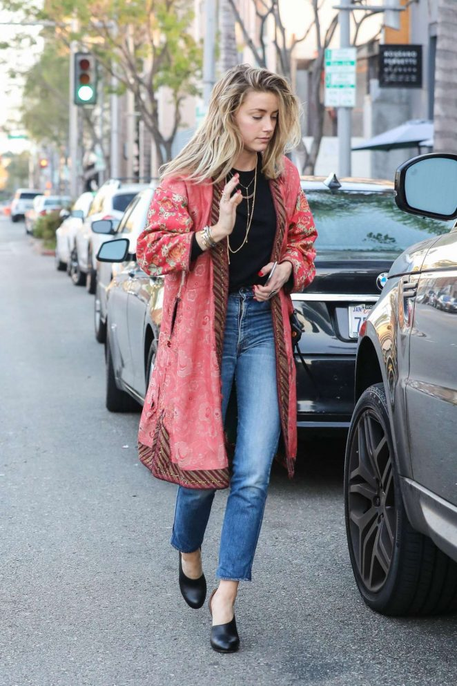Amber Heard in Long Red Coat Out in Beverly Hills