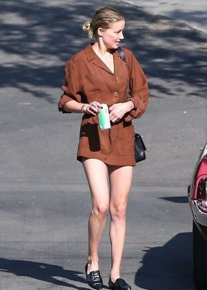 Amber Heard in Short Brown Dress - Out in Hollywood Hills