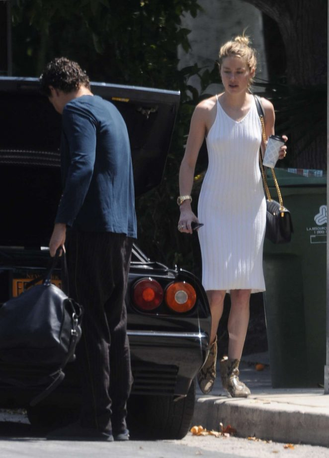 Amber Heard in Tight White Dress – Arriving at Nobu un Malibu