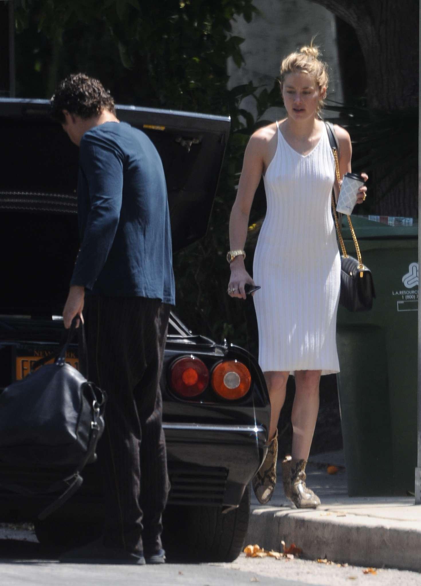 Amber Heard in Tight White Dress - Arriving at Nobu un Malibu